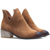 Brown V Cut Brush Pointed Toe Boots