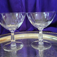 1950s Fostoria Champagne Coupes, Set of Six, Spray Pattern, Ribbed Teardrop Stem, Elegant Mid Century Crystal Barware