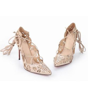 CL Christian Louboutin Fashion Pointed Toe Hollow Out Heels Shoes-2