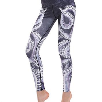 Fun Octopus Printed Breathable Stretchy Workout Yoga Leggings