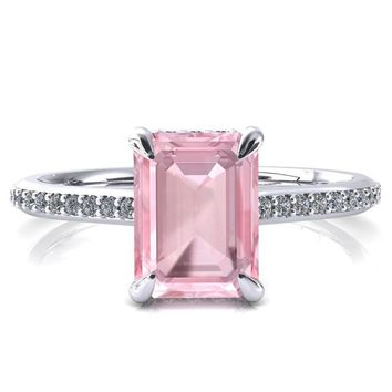Kiki Emerald Pink Sapphire 4 Prongs Claw Floating Halo 1/2 Pinpoint Inverted Cathedral Ring