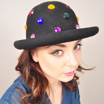 VINTAGE 90s grunge black wool felt gemstone gems jewel bowler Blossom inspired hat