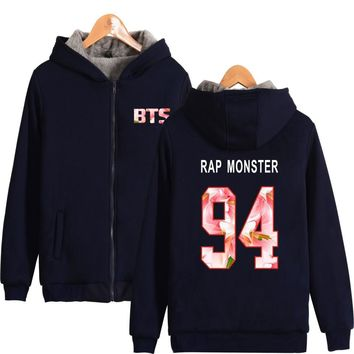 KPOP BTS Bangtan Boys Army Aikooki   Thicker Zipper Hoodies Korean RAP MONSTER   Hoodie Cotton Fashion hoodies men/women winter Clothes AT_89_10