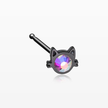 Blackline Adorable Cat Face Iridescent Sparkle Nose Stud Ring