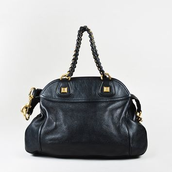 "Givenchy Black Calfskin Leather ""Nightingale Chain Wrap"" Satchel Bag"
