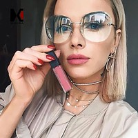 Women Rimless Square Sunglasses Brand Designer Thick  Gradient Cutting Lens Glasses