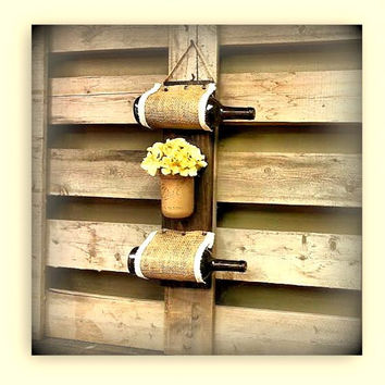 Wine Rack Wooden Custom, Rustic Country Decor, Gift,  Wine Holder and Cork Holder, Mason Jar, Storage,Unique Wine Rack, Wine Rack Hanging