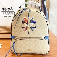 COACH Fashion New pattern leather shopping leisure book bag backpack bag handbag