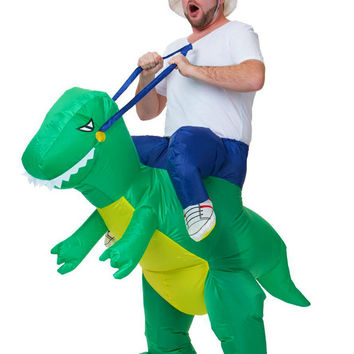 Halloween Costume for Women men Fan Operated Inflatable Dinosaur Suit Costume Adult Kids Size  Cosplay Animal Dino Rider T-Rex