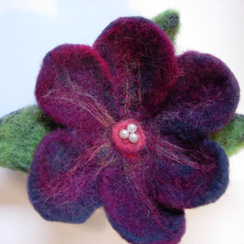 Needle Felted Flower Pin by jhammerberg on Etsy