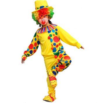 2017 Kids Colorful Dot Clown Cosplay Costume Magician Circus Jumpsuits For Children Halloween Cosplay Costumes Party Supplies