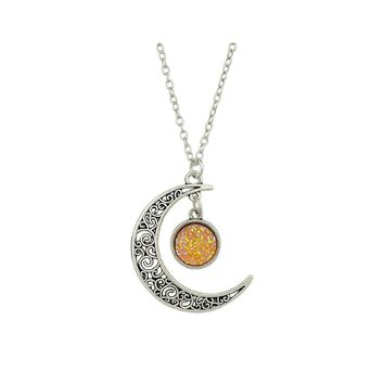 Gold Hollow Moon Full Of Stars Necklace