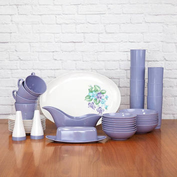 Lilac Corsage Royalon Melmac Dishes Set – 40 Pieces – Mid Century Purple Melmac Dinnerware Made in the USA