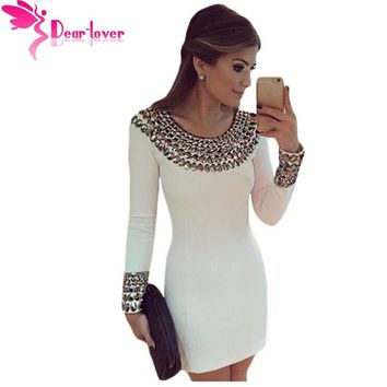 Long Sleeve Bodycon Studded Mini Dress