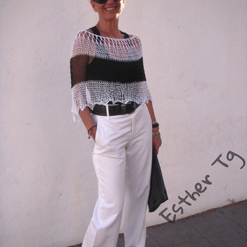 Summer black and white, stripped chal, summer knit, summer poncho, black and white capelet, summer knit wrap, woman dress