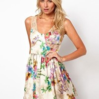 Love Dress In Lace and Floral Print at asos.com