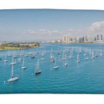 Bath Mat, San Diego Skyline And Waterfront And Sailing Boats