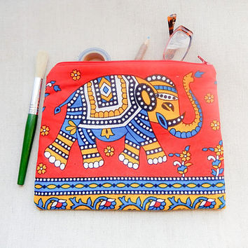 Elephant Gift for Her/ Mothers Day Gift/ Make Up Bag/ Pencil Case/ Pouch/ Gift for Mom/ Best Friend Gift/ Girlfriend Gift/ Teacher Gift