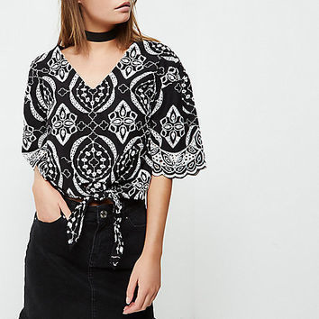 Black embroidery print tie front crop top - crop tops / bralettes - tops - women