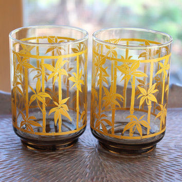 Pair of Bamboo Printed Drinking Glasses