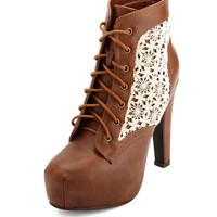 CROCHET INSET LACE-UP PLATFORM BOOTIES