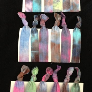 Set of 6 Dark Tie Dye Elastic Hair Ties (and bracelets)
