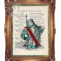 Red Letter X with Child Playing Soldier Art Beautifully Upcycled Vintage Dictionary Page Book Art Print