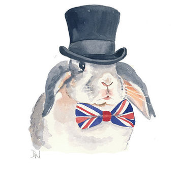 Original Rabbit Watercolour Painting - Bunny Watercolor, Union Jack, Top Hat, 8x10