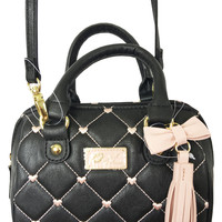 Betsey Johnson Blush Pink Quilted Hearts on Black Mini Barrel Crossbody Bag