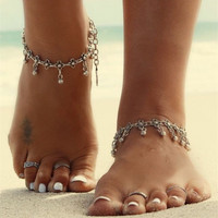 Vintage Ancient Silver Plated  Bead Anklets