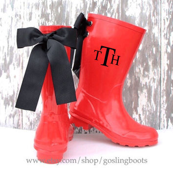 Girls Custom Red Gloss Rain Boots with Black Bows
