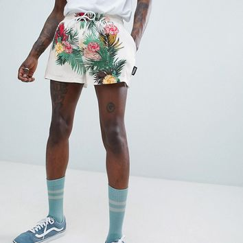 Jaded London Floral Print Shorts In White With Side Stripe at asos.com