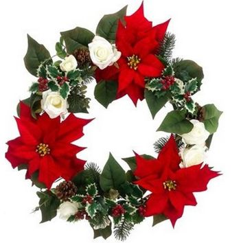 """22"""" Red Poinsettia and White Rose Artificial Christmas Wreath - Unlit"""