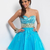 2013 Style A-line Sweetheart  Beading  Sleeveless Short / Mini  Tulle  Cocktail Dresses / Homecoming Dresses (SZ0300050) - FabulousPromDress.com