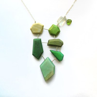 Green statement necklace, peridot gemstone necklace, genuine fluorite necklace, sterling silver, modern bib necklace, asymmetric, geometric