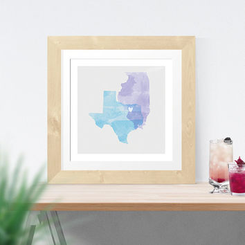 Watercolor two state map print, guest book, guestbook, art, love, custom, map, wedding gift, anniversary