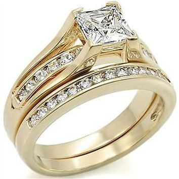 Women's Yellow Gold Plated Cz Wedding Engagement Ring Set