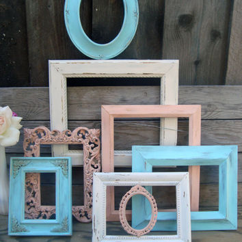 Coral and Blue Set of 8 Ornate Painted Frames, Off White, Coral, Blue Open Frame Gallery, Up Cycled Wall Frames, Cottage Chic, Nursery Decor