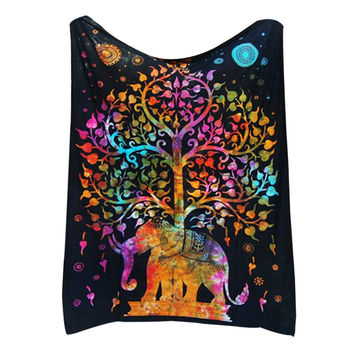 Tree of Life Psychedelic Wall Hanging Elephant Tapestry Multi/Black