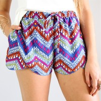 TRIBAL BLUE AZTEC PRINTS WRAP CROSSOVER BEACH SHORTS 6 8 10 12