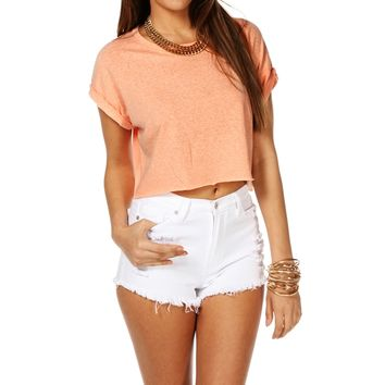 Sale-rolled Sleeves Crop
