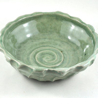 CIJ SALE Ceramic Bowl Textured Green Stoneware Unique Handmade Pottery Home Decor