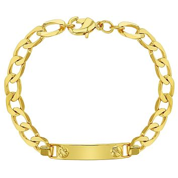 18k Gold Plated Tag ID Identification Bracelet for Toddlers or Children 5""
