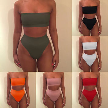 2017 Sexy Plain Design Bandeau Bikini Set Strapless swimwear High Waist Women Swimsuit free shipping