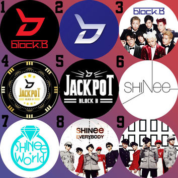SHINee & Block B (Very Good, Jackpot, Everybody) Bottle Cap Necklace KPOP (9 Styles)