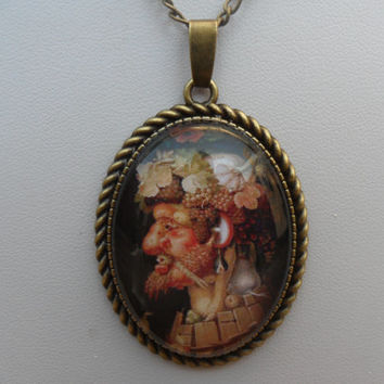 Giuseppe Arcimboldo Autumn cameo pendant necklace, fruit portrait, colorful picture pendant, man with grapes, antique bronze; UK seller