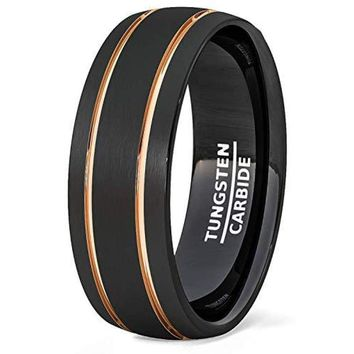 Black Tungsten Wedding Band With Double Groove Rose Gold Inlay Dome Brushed Comfort Fit - 8mm