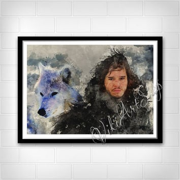 Jon Snow and his wolf Ghost Poster, Game of Thrones Art Poster, Watercolor Painting, Stark Jon Snow and Wolf Watercolor Art Print, Ghost