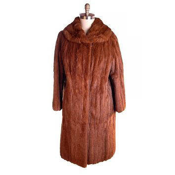 Vintage Womens Fur Coat Luscious Knee Length Red Squirrel 1950S Medium