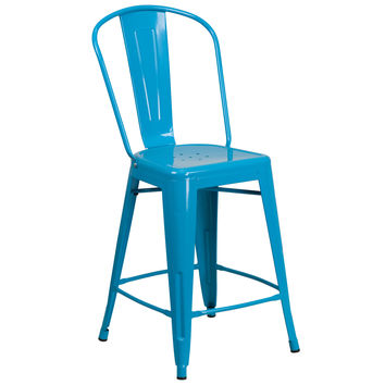 24'' High Crystal Blue Metal Indoor-Outdoor Counter Height Stool with Back